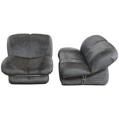 Mid-Century Modern Italian Italian Armchairs with Original Upholstery. 1970s