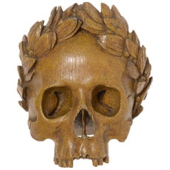 Antike Holzskulptur Vanitas
