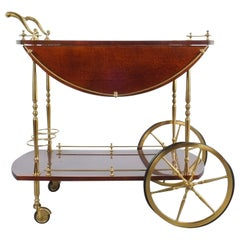 Aldo Tura Adjustable Brown Parchment Brass Bar Cart, 1960