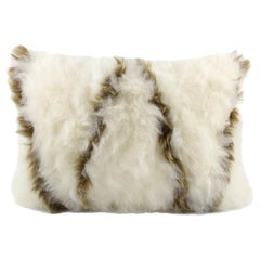 Boho White and Gold Sheepskin Pillow, Made in Australia