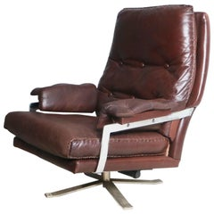 1960s Norwegian Leather and Chrome Lounge Chair by Arne Norell for Vatne Møbler