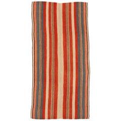 Vintage Tribal Kilim Rug with Polychrome Vertical Stripes