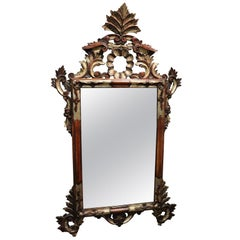 20th Century Italian Louis XV Style Silvered Wood Wall Mirror