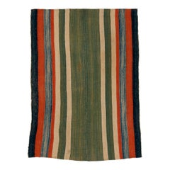 Antique Tribal Jajim Rug with Vertical Polychrome Stripes on a Green Ground