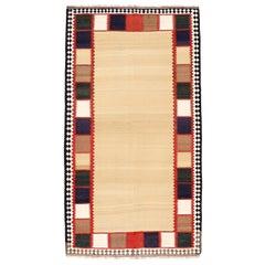 Vintage Minimalist Graphic Tribal Kilim Rug