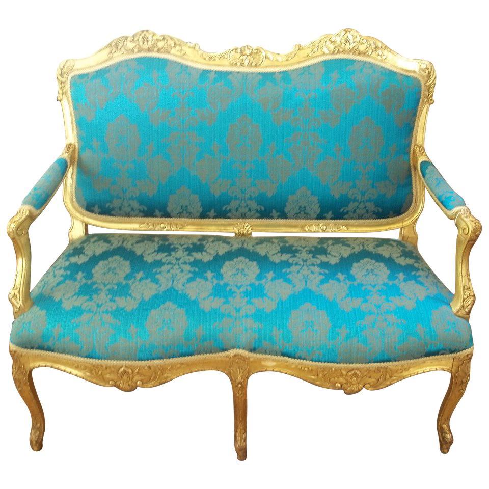 Elegant Settee or Sofa Louis XV Style Giltwood reupholstered, English circa 1850