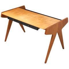 Schreibtisch in Esche mit 2 schwarzen Schubladen von Helmut Magg für WK Möbel, 1955