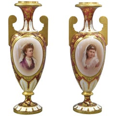 Pair of Ruby Red Glass Urns with Portraits, Bohemia, 19th Century
