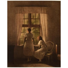 """Peter Ilsted """"Interior with Two Girls at the Window,"""" Mezzotint in Colors"""