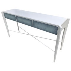 Custom Made Console High Gloss White and Color Effect Antique Glass
