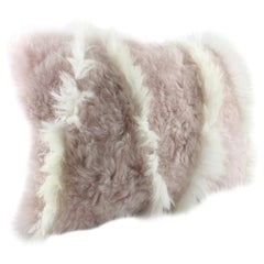 Pink and White Sheepskin Pillow Cushion Made in Australia