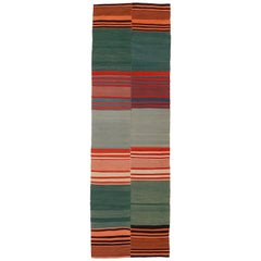 Vintage Modernist Polychrome Striped Kilim Runner Rug
