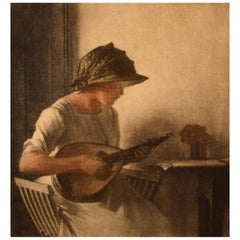 Peter Ilsted, Interior with Mandolin Playing Young Woman, Mezzotinte