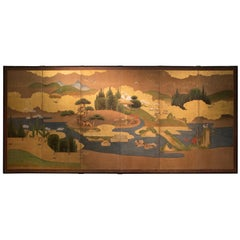 Antique Japanese Six-Panel Landscape Screen Byobu