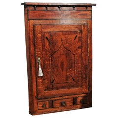 George III Oak Corner Wall Hanging Cabinet with Spice Drawer, circa 1780