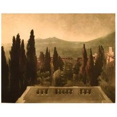 "Peter Ilsted 1863-1933. ""The View from Villa d'Este"", Mezzotinte"