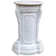 19th Century Carved Carrara Marble Column Plinth