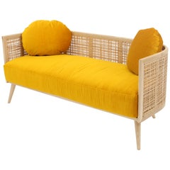 Summerland Sofa in solid ash wood and straw weaving pattern