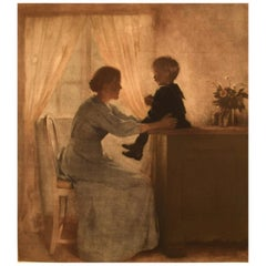 Rare Peter Ilsted, Interior with Mother and Child, Mezzotinte