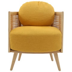 Summerland Armchair in solid ash wood and straw weaving pattern