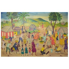 Y. Jn. René, Haitian Artist, Naivist School, Oil on Canvas, 1970s