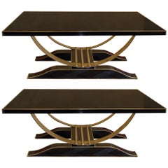 Late 20th Century Pair of Murano Black Opaline Glass and Brass Coffee Tables