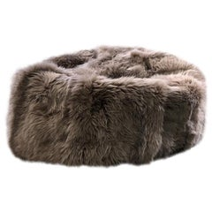Black Large Merino Sheepskin Bean Bag Chair, Made in Australia