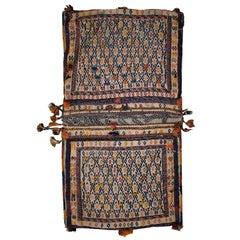 Handmade Antique Sumak Style Sadle Double Bag, 1940, 1C399