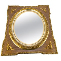 French Louis XVI Style Parcel-Gilt Mirror Frame in Oak