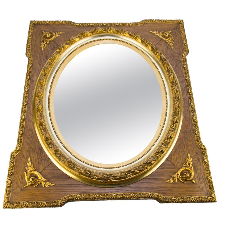 French Louis XVI Style Parcel-Gilt Mirror Frame in Oak For Sale