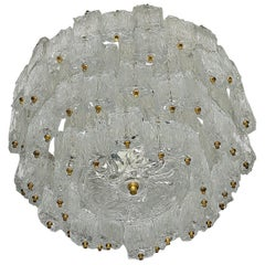 Large Murano Glass Chandelier by Barovier & Toso. Gold Colored, 1960s