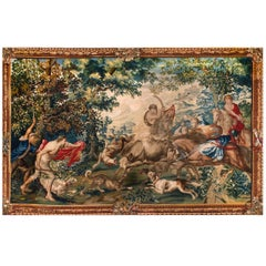 "17th Century Large Flemish Historical Tapestry ""The Bull Hunting"""