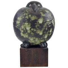 Rare Figure, Lisa Larson for Gustavsberg, Black Bird in Glazed Ceramics