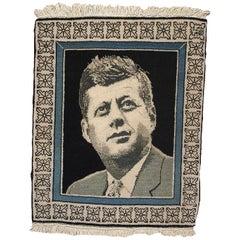 Handmade Vintage Tabriz Style Kennedy Portrait Rug, 1980s, 1B365