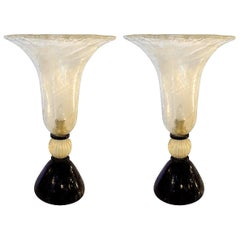 Large Pair of Mid-Century Modern Murano Glass Urn Shaped Lamps, Venini Style