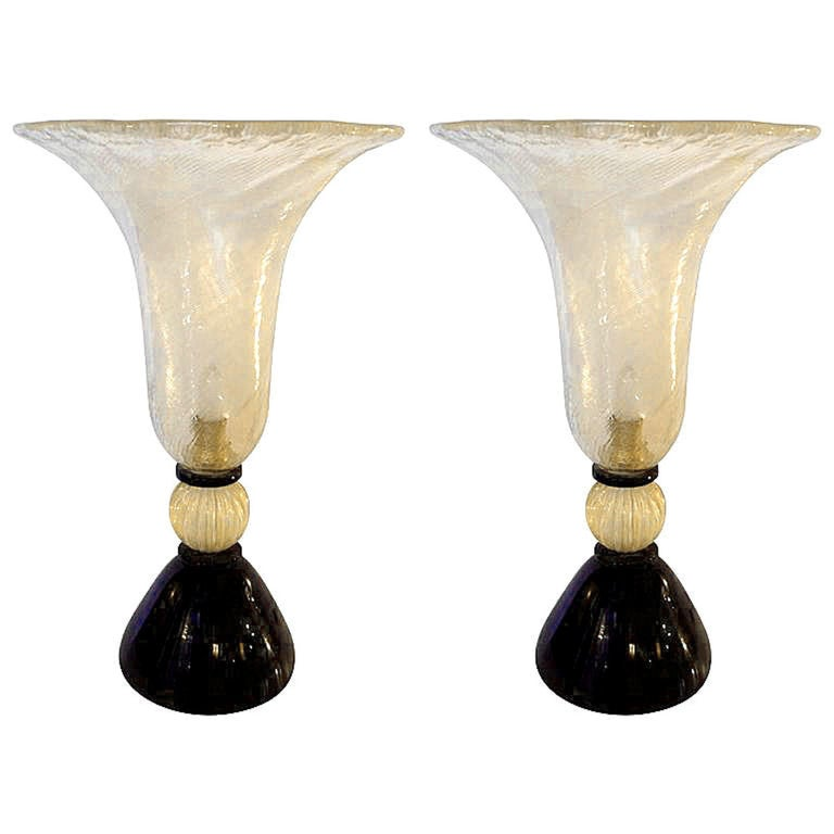 Large Pair of Mid-Century Modern Murano Glass Urn Shaped Lamps, Venini Style For Sale