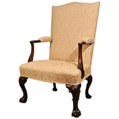 Fine George II Mahogany Gentlemans Arm Chair in Pale Gold