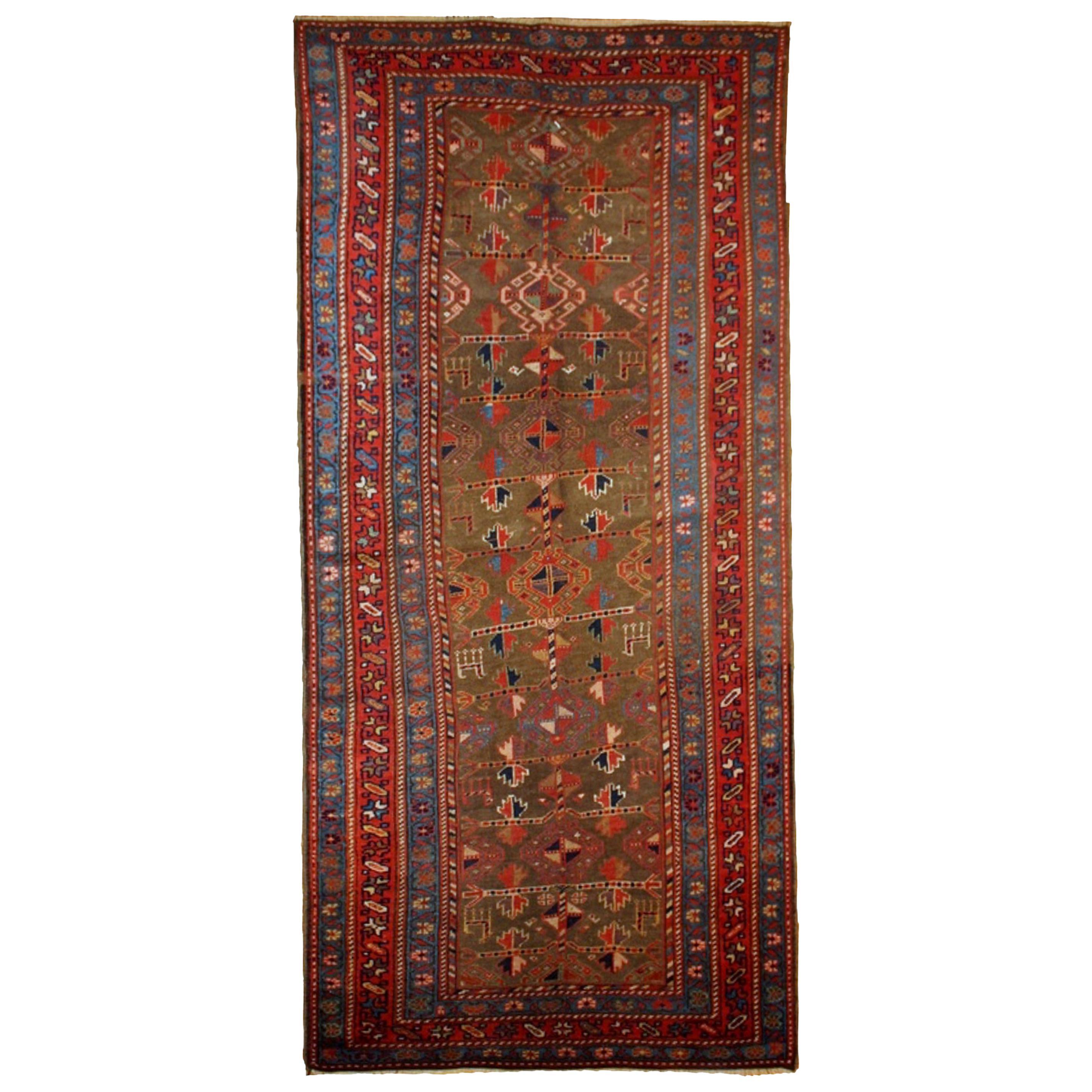 Handmade Antique Kurdish Style Rug, 1880s, 1B415