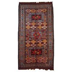 Handmade Antique Kurdish Style Rug, 1880, 1B419