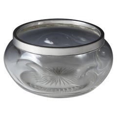 Sterling Silver Collared Dimpled Glass Bowl, 1903