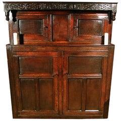 Original Queen Anne Oak Court Cupboard Dated 1705