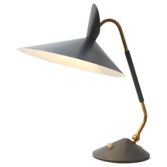 Table Lamp in Brass with Grey Lamp Shade in the Style of S.A. Holm Sørensen