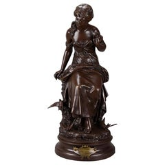 """Französischer Jugendstil Bronze """"Retour des Hirondelles"""" von Auguste Moreau"""