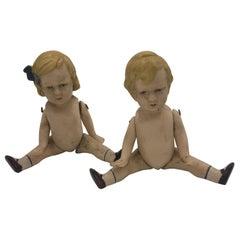 2 Bisque Dolls, Boy and Girl, circa 1930