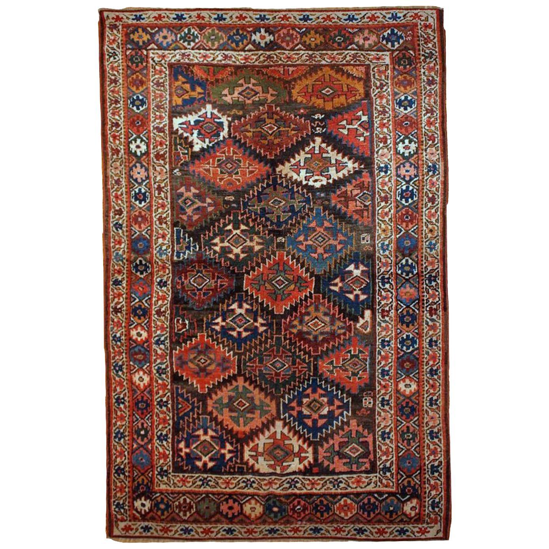 Handmade Antique Kurdish Style Rug, 1880s, 1B423