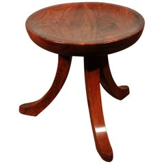 Unusual 'Liberty Thebes' Design Round Stool in Solid Walnut, circa 1900