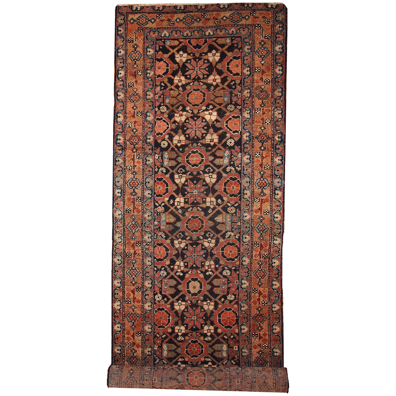 Handmade Antique Hamadan Style Runner, 1900s, 1B438