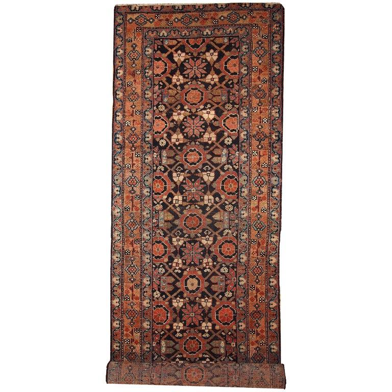 Handmade Antique Hamadan Style Runner, 1900s, 1B438 For Sale