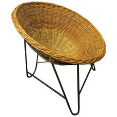 Midcentury Bamboo Rattan and Iron Pod Lounge Chair