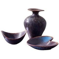 Mid Century Modern Ceramics by Gunnar Nylund for Rörstrand, Sweden, Set of 3